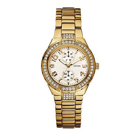 Guess - Ladies gold stone set watch