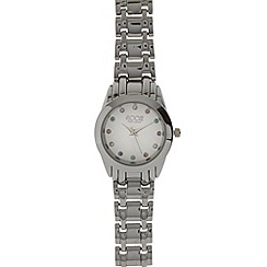 Floozie by Frost French - Designer ladies silver plated diamante link strap watch