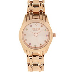 Floozie by Frost French - Ladies rose gold crystal marker bracelet watch