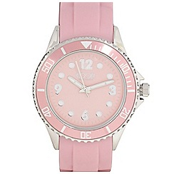 Floozie by Frost French - Designer ladies pale pink silicone strap watch