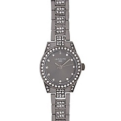 Infinite - Ladies gunmetal crystal embellished watch