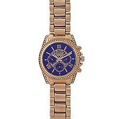 Red Herring - Ladies rose gold plated diamante set chronograph watch