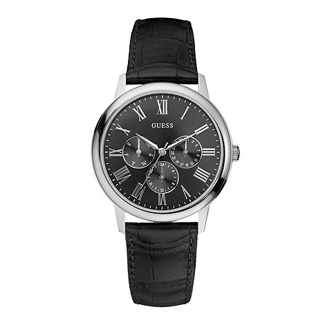 Guess - Men+s  black round face watch