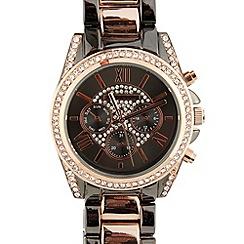 Red Herring - Ladies gunmetal crystal sports watch