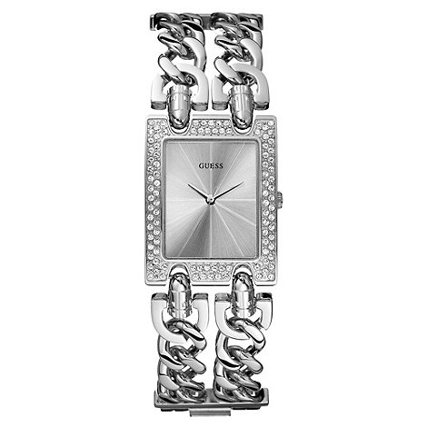 Guess - Ladies silver rectangular dial double chain watch