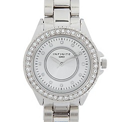 Infinite - Ladies silver stone bezel watch