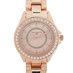 Infinite - Ladies rose gold plated stone bezel bracelet watch
