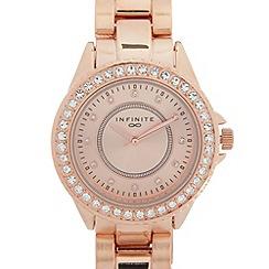 Infinite - Ladies rose gold plated stone bezel bracelet watch