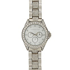 Red Herring - Ladies silver plated diamante trim link watch