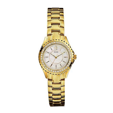 Guess - Ladies gold stone set bracelet watch
