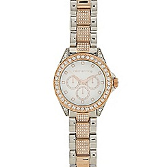 Red Herring - Ladies silver and gold plated diamante set watch