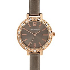 Red Herring - Ladies bronze crystal bezel strap watch