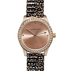 Red Herring - Ladies rose gold plated leopard print diamante watch