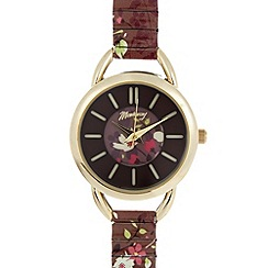 Mantaray - Ladies brown floral printed link strap watch