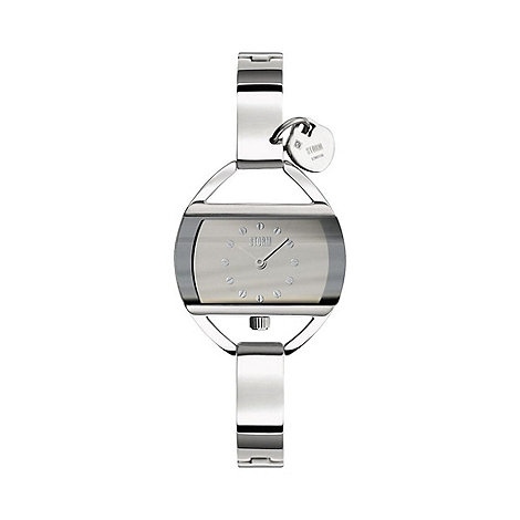 STORM London - Ladies silver rectangular dial watch temp charm silv