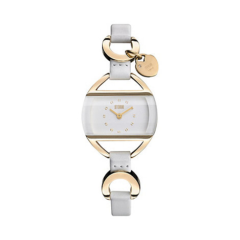 STORM - Ladies white rectangular dial charm watch