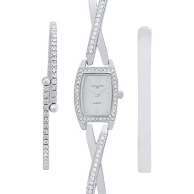 Infinite Ladies silver embellished watch and bracelet set - . -