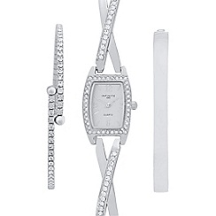Infinite - Ladies silver embellished watch and bracelet set