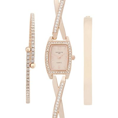 Infinite Ladies rose gold embellished watch and bracelet set - . -