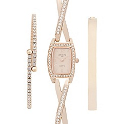 Infinite - Ladies rose gold embellished watch and bracelet set