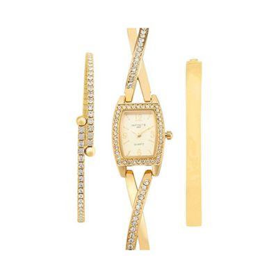 Infinite Ladies gold embellished watch and bracelet set - . -