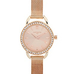 Infinite - Ladies rose gold plated mesh strap stone bezel watch