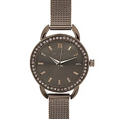 Infinite - Ladies gunmetal mesh strap stone bezel watch