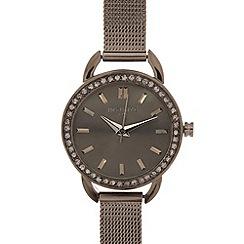 Infinite - Ladies gunmetal mesh strap stone bezel watch