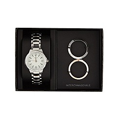 Infinite - Ladies silver plated interchangeable bezel watch