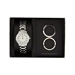 Infinite - Ladies silver plated interchangeable bezel watch