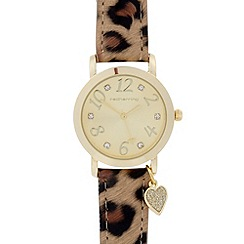 Red Herring - Ladies brown leopard strap heart charm watch