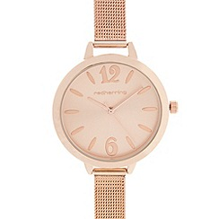 Red Herring - Ladies rose gold plated mesh strap watch