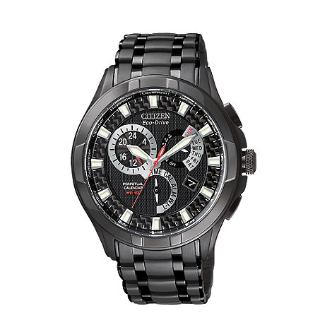 Citizen - Men+s  black round face multi watch