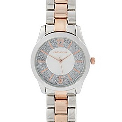 Red Herring - Ladies silver glitter dial two tone bracelet watch