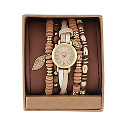 Mantaray - Ladies beige cross over stacking watch
