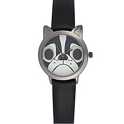 Floozie by Frost French - Black ladies mock leather pug watch