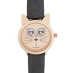 Floozie by Frost French - Ladies grey cat face watch