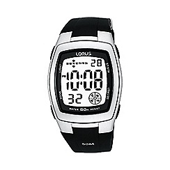 Lorus - Men's  black rectangle white dial digital watch