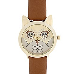 Floozie by Frost French - Ladies tan owl face watch