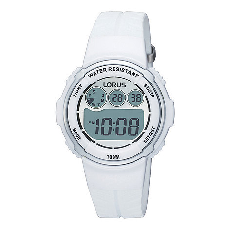 Lorus - Ladies white round dial digital watch