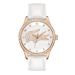 Lacoste - Ladies rose gold plated silver/white strap watch