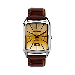 Ben Sherman - Men's  brown leather strap sunray dial watch