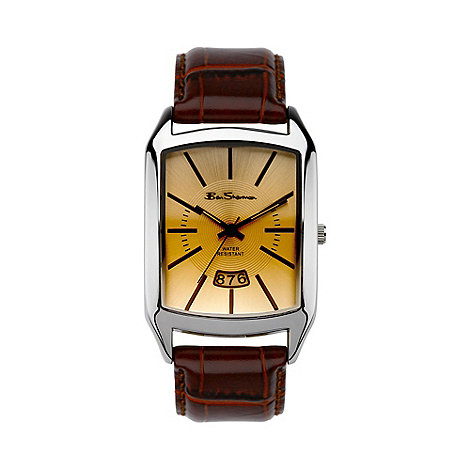 Ben Sherman - Men+s  brown leather strap sunray dial watch r784.03bs