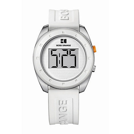 Boss Orange - Men+s white round case digital dial watch