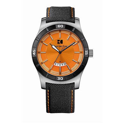 Boss Orange - Men+s black round case orange dial watch