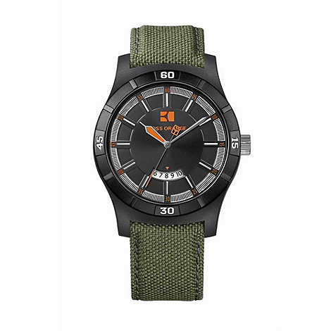 Boss Orange - Men+s green round case black dial watch