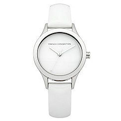 French connection - Ladies White Patent Leather Strap Watch