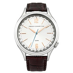 French Connection - Gents Brown Leather Strap Watch