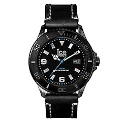 ICE - Unisex large black leather strap watch