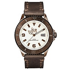 ICE - Unisex extra large brown leather strap watch